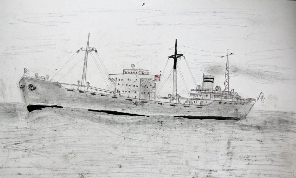 宮崎さんが描いた引き揚げ船「彌彦丸」。祖国を目前に船内で息絶える人も相次いだ